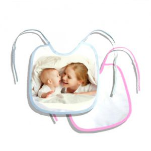 CUSTOM 100% White Polyester Pink Trim Bib 1 Piece (450P )