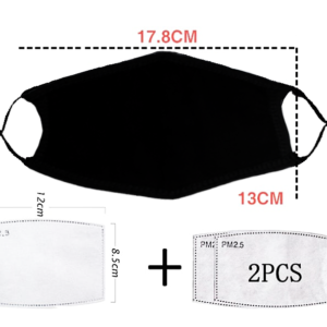Face Mask 100% Cotton Front Pocket + 2 Filters
