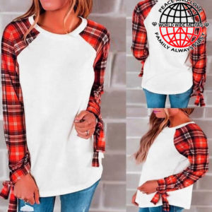 Wholesale Plaid Sublimation Long Sleeve Cotton Feel T-Shirt 30% OFF